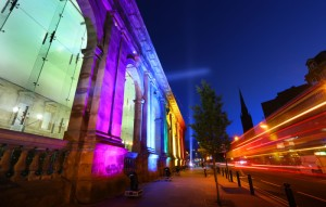 ILLUMINATING EXPERIENCE ...the historic Newcastle Central Station portico lights up in six vibrant rainbow colours to celebrate this year's Northern Pride LGBT festival in the city